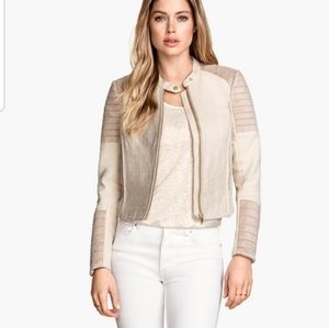 H&M cream biker jacket